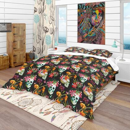 BED18934-T Designart 'Skull And Flowers' Bohemian & Eclectic Duvet Cover