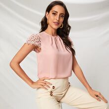 Keyhole Neck Pleated Front Guipure Lace Sleeve Top