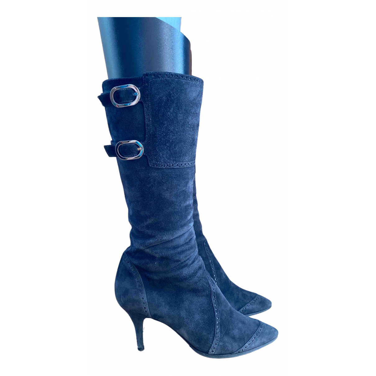 Sergio Rossi \N Stiefel in  Blau Veloursleder