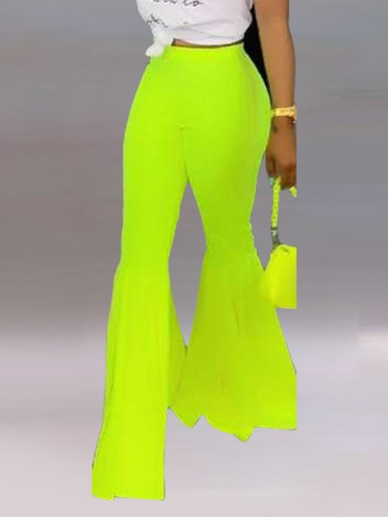 Ericdress Plain Slim Full Length Casual Bellbottoms Pants
