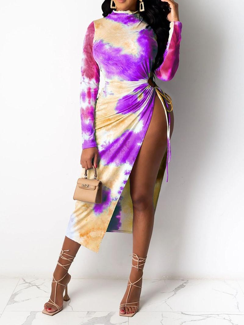 Ericdress Mid-Calf Tie-Dye Long Sleeve Asymmetrical Color Block Dress
