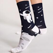 1 Paar Astronautenmuster Socken