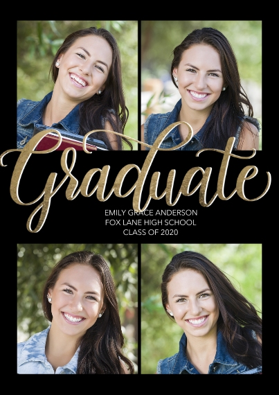 Graduation Announcements 5x7 Cards, Premium Cardstock 120lb, Card & Stationery -Graduate Elegant Script by Tumbalina