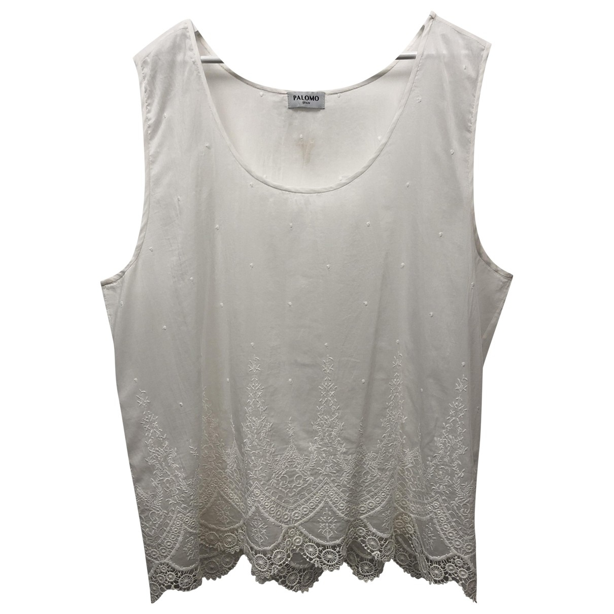 Non Signé / Unsigned \N White Cotton  top for Women XL International