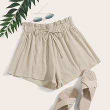 Einfarbige Shorts mit Papiertasche Taille und Band vorn