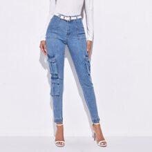 Schmale Jeans mit hoher Taille, Taschen Klappe ohne Guertel