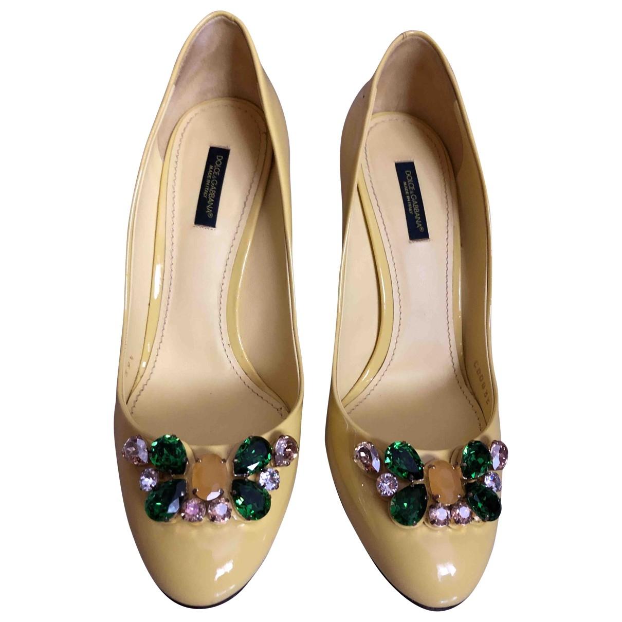 Dolce & Gabbana \N Yellow Leather Heels for Women 39.5 EU