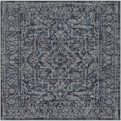 Monte Carlo MNC-2301 53 Square Traditional Rug in Navy  White  Charcoal  Light Gray  Sky