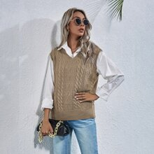 Cable Knit Solid Sweater Vest