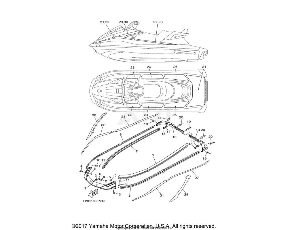 Yamaha OEM F2X-U89AD-50-00 ORNAMENT, BOW RH (PURW) | WHITE