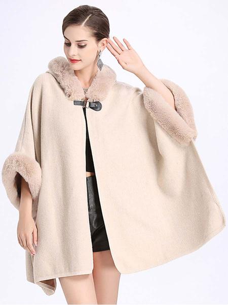 Milanoo Poncho de mujer con capucha Abricot Cape Winer Prendas de abrigo