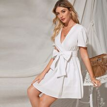 Surplice Neck Puff Sleeve Belted Flare Dress