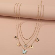 3 piezas collar con diseño de mariposa