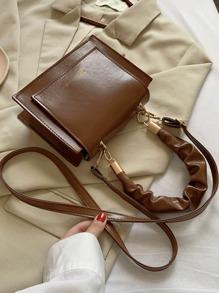 Ruched Handle Flap Satchel Bag