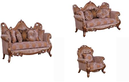 Tiziano Collection Luxury 3 Pieces Set with 1 Sofa + 1 Loveseat + 1 Chair  in Parisian Brown Light Gold and Antique