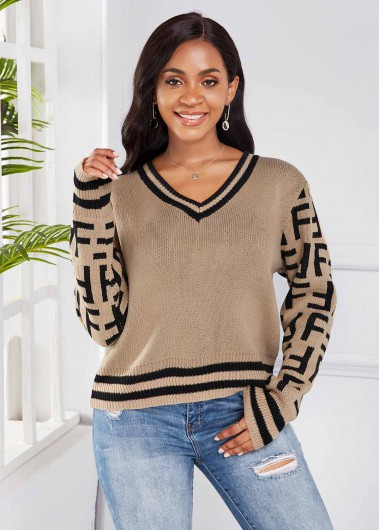 Trendy Striped V Neck Long Sleeve Sweater - L