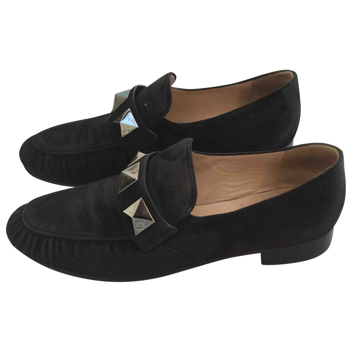 Valentino Garavani Rockstud Black Suede Flats for Women 38.5 EU