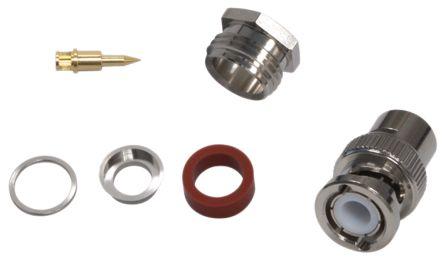 Yuetsu Straight 50Ω BNC Connector, Plug, Nickel, Solder Termination