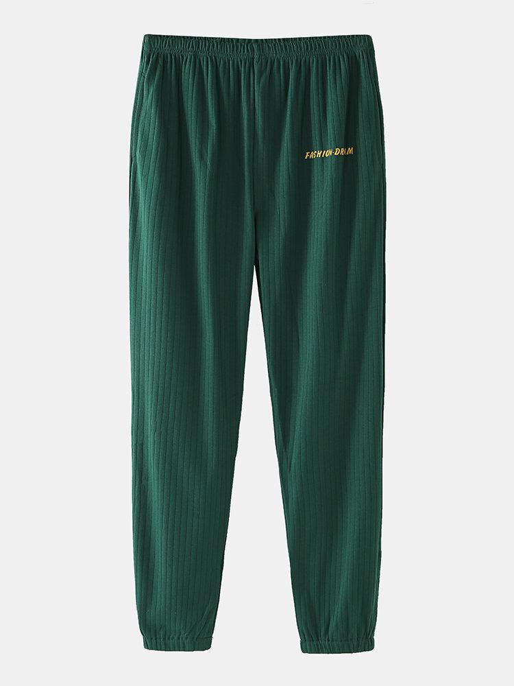 Mens Cotton Plain Color Striped Loose Breathable Comfy Home Loungewear Yoga Jogger Pants