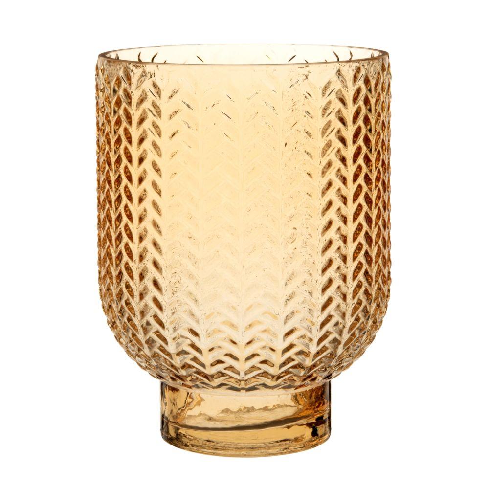 Vase aus bernsteinfarbenem, ziseliertem Glas H20
