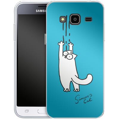Samsung Galaxy J3 (2016) Silikon Handyhuelle - Scratching Over Blue von Simons Cat
