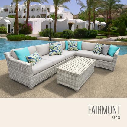FAIRMONT-07b-BEIGE Fairmont 7 Piece Outdoor Wicker Patio Furniture Set 07b with 2 Covers: Beige and