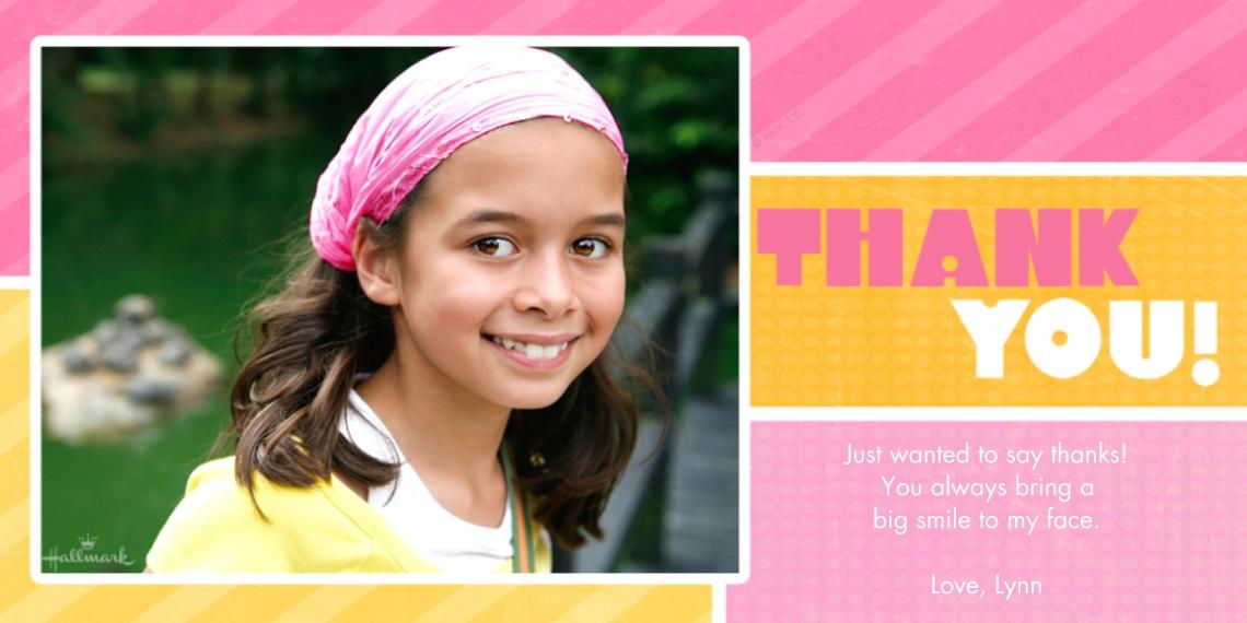 Kids Thank You Cards 4x8 Flat Card Set, 85lb, Card & Stationery -Pink & Orange Thank You