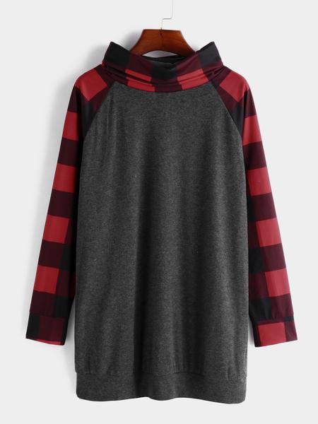Yoins Grey Grid Stitching Roll Neck Long Sleeves Sweatshirt