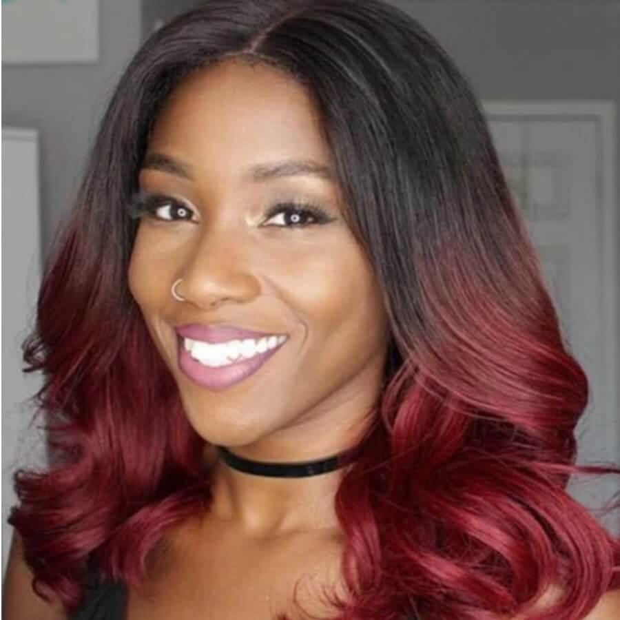 LW Lovely Stylish Long Wavy Wine Red Wigs