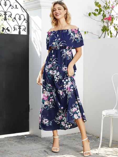 YOINS Elastic Strap Random Floral Off The Shoulder Dress