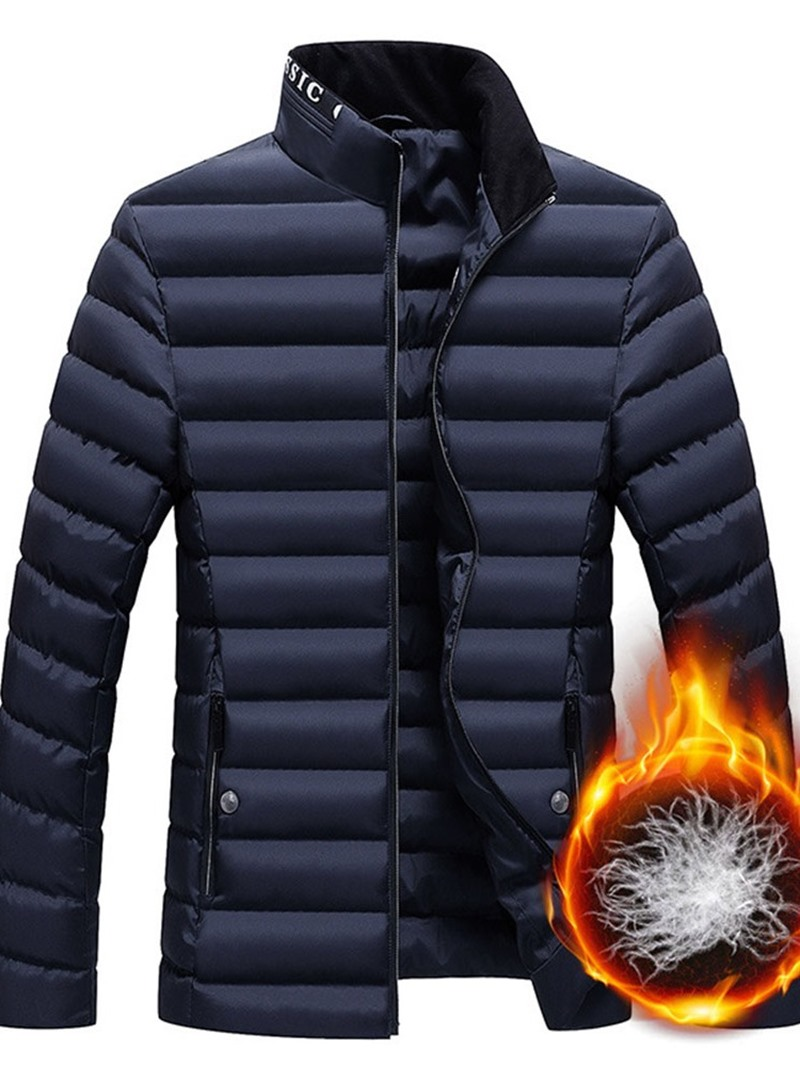 Ericdress Letter Zipper Casual Style Mens Down Jacket
