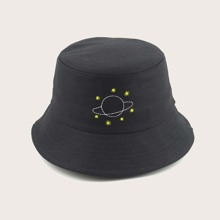 Guys Planet Embroidery Bucket Hat