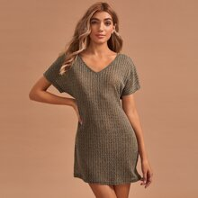 V-neck Batwing Sleeve Knitted Nightdress