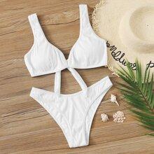 Bañador bikini de pierna alta de cuello V