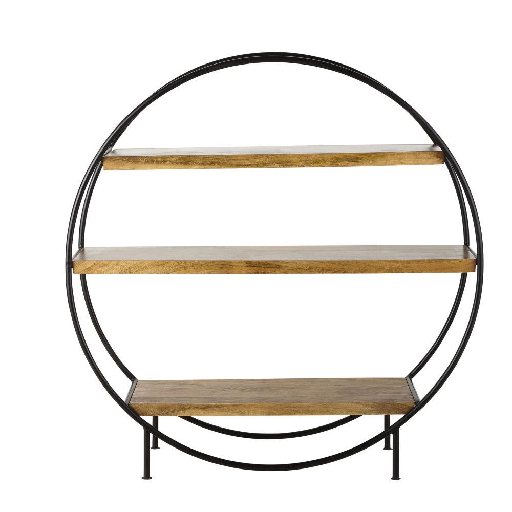 Rundes Regal im Industrial-Stil aus mattschwarzem Metall und Mangoholz Segment