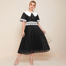 Plus Peter Pan Collar Guipure Lace Trim Pleated Dress