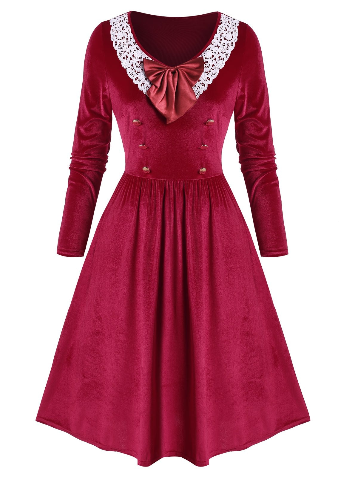 Plus Size Velvet Lace Panel Bowknot Dress