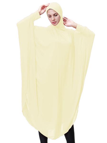 Milanoo Women Abaya Clothing Long Sleeve Solid Color Muslim Abaya Dress