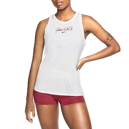 Nike Womens Crew Neck Sleeveless Tank Top, Small , White