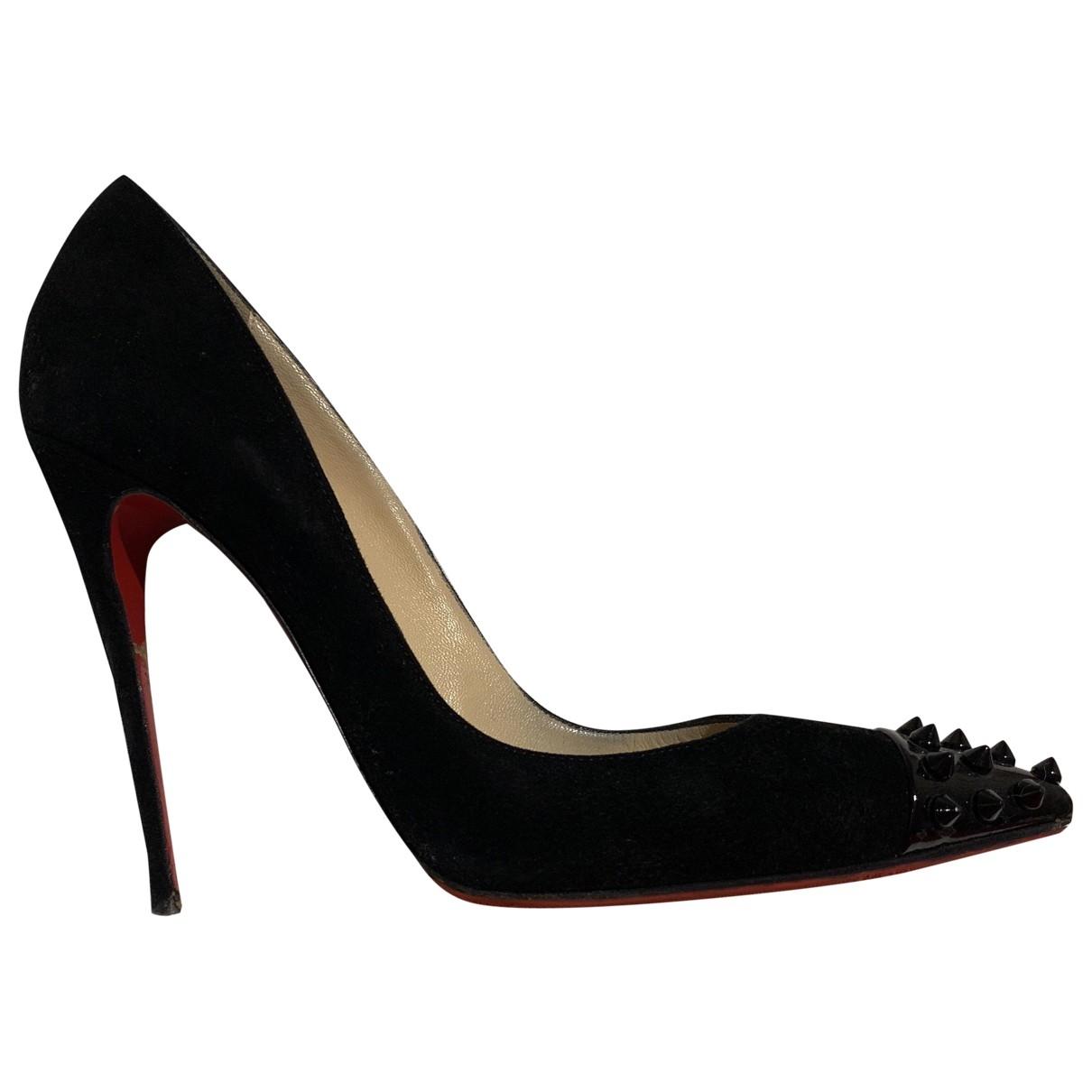 Christian Louboutin So Kate  Black Suede Heels for Women 38 EU