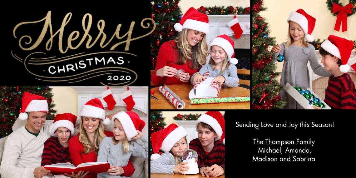 Christmas Photo Cards Flat Matte Photo Paper Cards with Envelopes, 4x8, Card & Stationery -2020 Christmas Merry Modern by Tumbalina