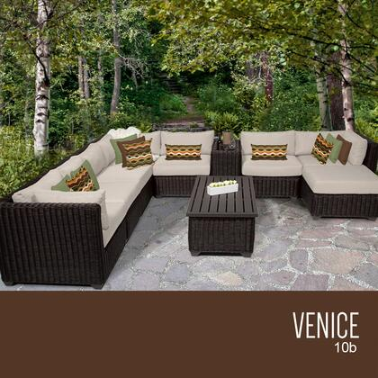 VENICE-10b-BEIGE Venice 10 Piece Outdoor Wicker Patio Furniture Set 10b with 2 Covers: Wheat and