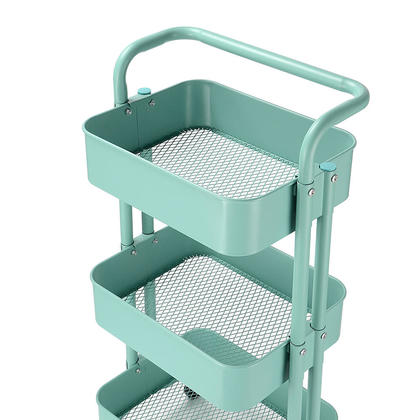 We Remain Open 3-Tier Metal Rolling Utility Cart - Heavy Duty Mobile Storage Organizer - SortWise�