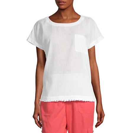 Liz Claiborne-Womens Crew Neck Short Sleeve T-Shirt, Small , White