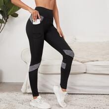 Color Block Sports Leggings With Phone Pocket