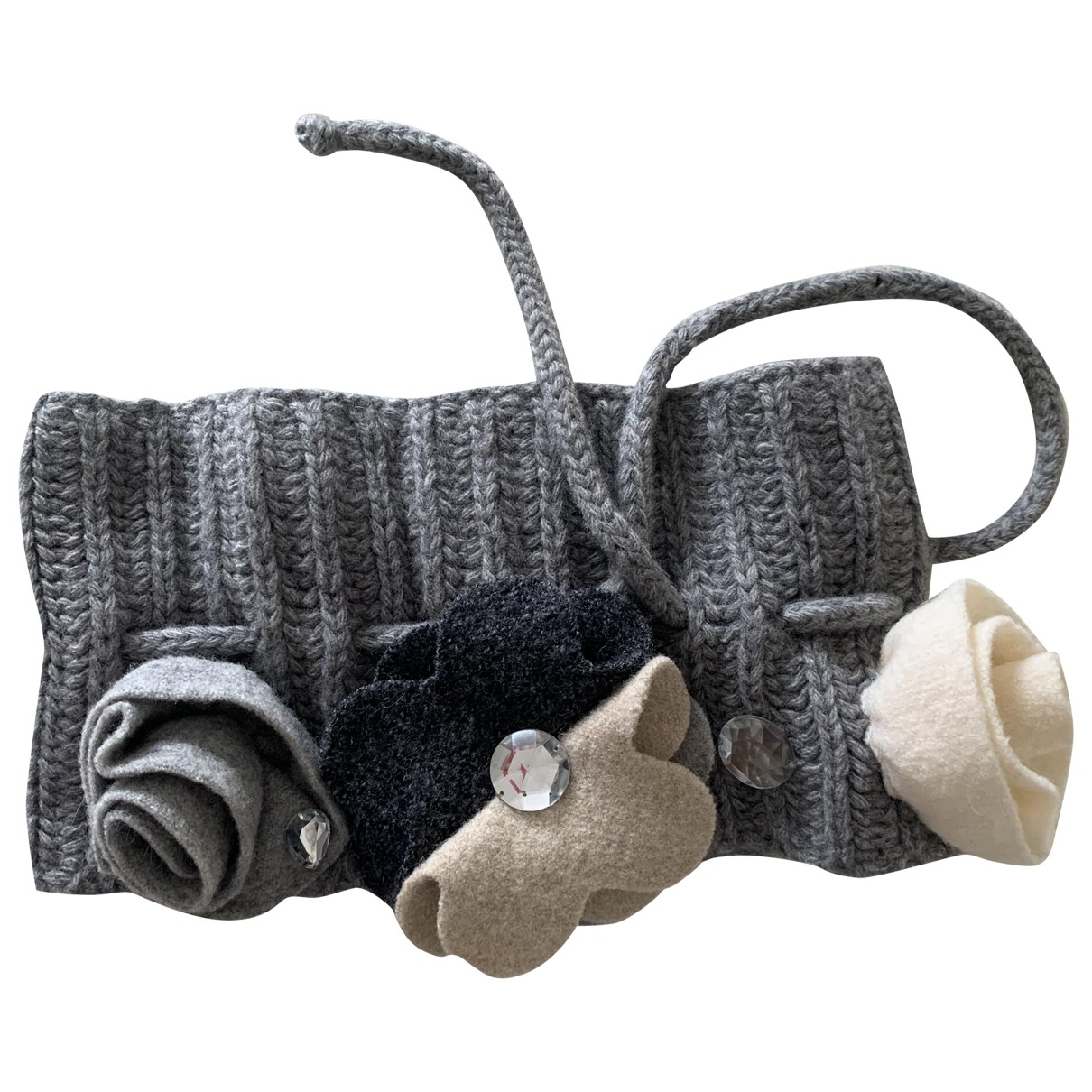 Simonetta \N Halstuecher, Schal in  Grau Wolle