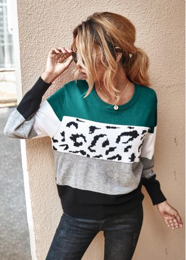 Trendy Leopard Long Sleeve Contrast Panel Sweater - XL