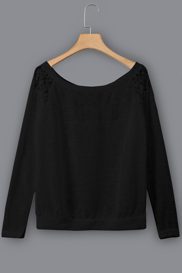 Yoins Black Lace Insert Round Neck Long Sleeves Top
