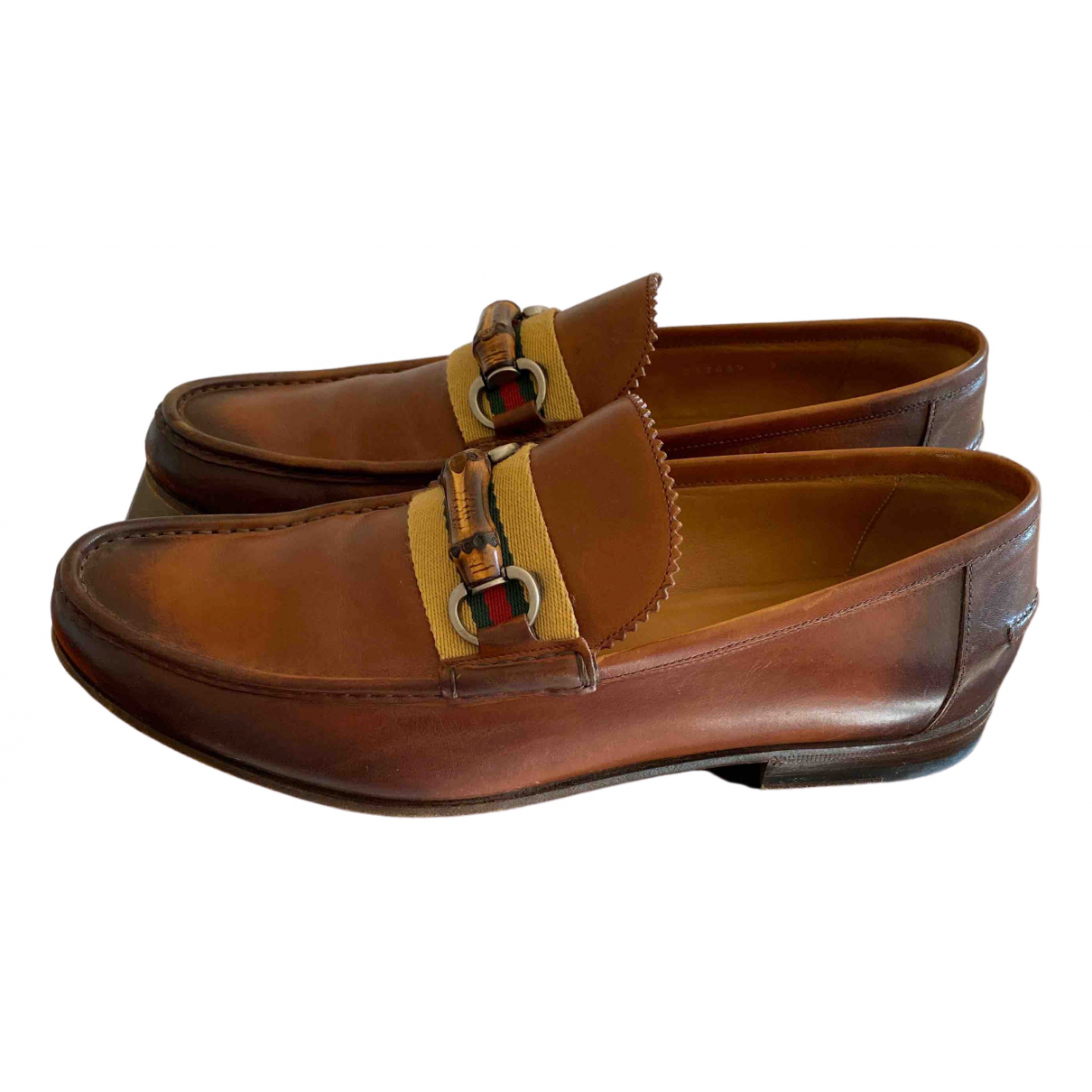 Gucci Brixton Brown Leather Flats for Men 7 UK