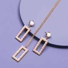 1 par pendientes con rectangulo con perla artificial con 1 pieza collar